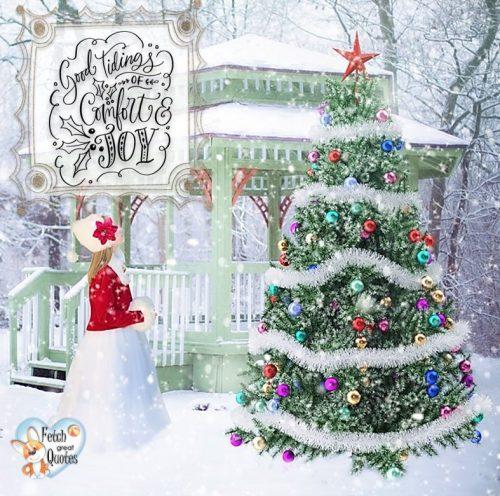 Old fashioned Christmas photo, Small town Christmas, Christmas tree, Good Tiding of comfort and joy photo, Christmas photo