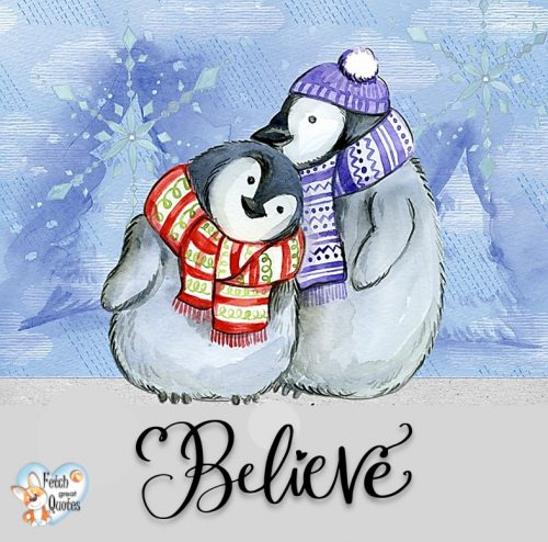 Believe photo, cute penguins photo, Holiday season photo, blue holiday season photo