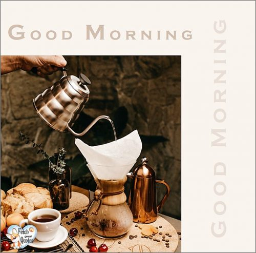 Coffee good morning photo, color blocked good morning photo, modern good morning photo
