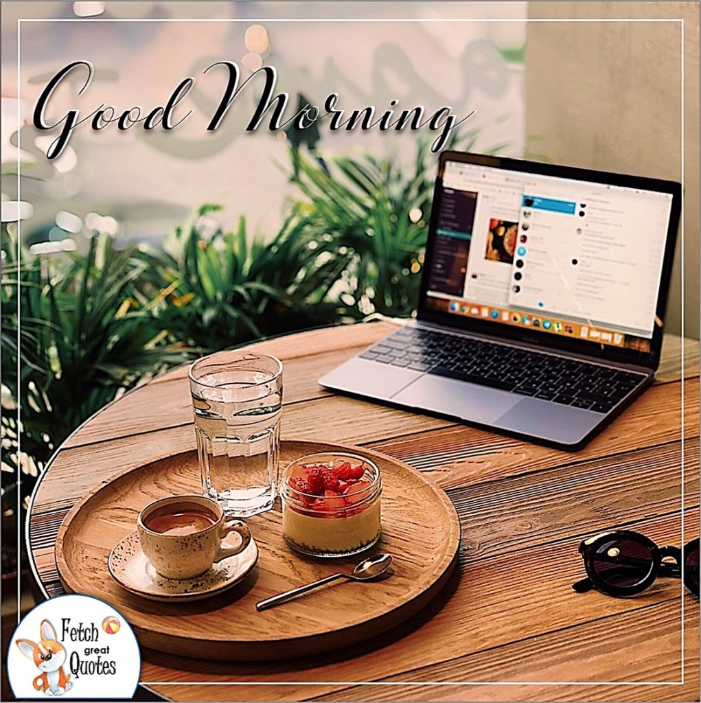 Coffee at the bistro, coffee at work, work from home, laptop and breakfast