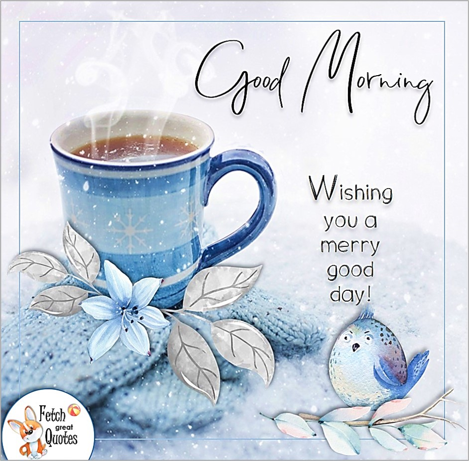 blue coffee cup, steaming hot coffee, winter morning coffee, winter good morning, blue bird of happiness, good morning photo, wishing you a merry good day photo