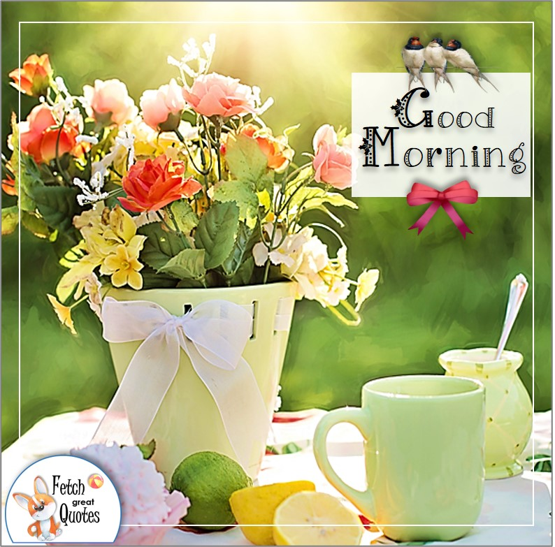 Spring morning flower table, good morning coffee photo,