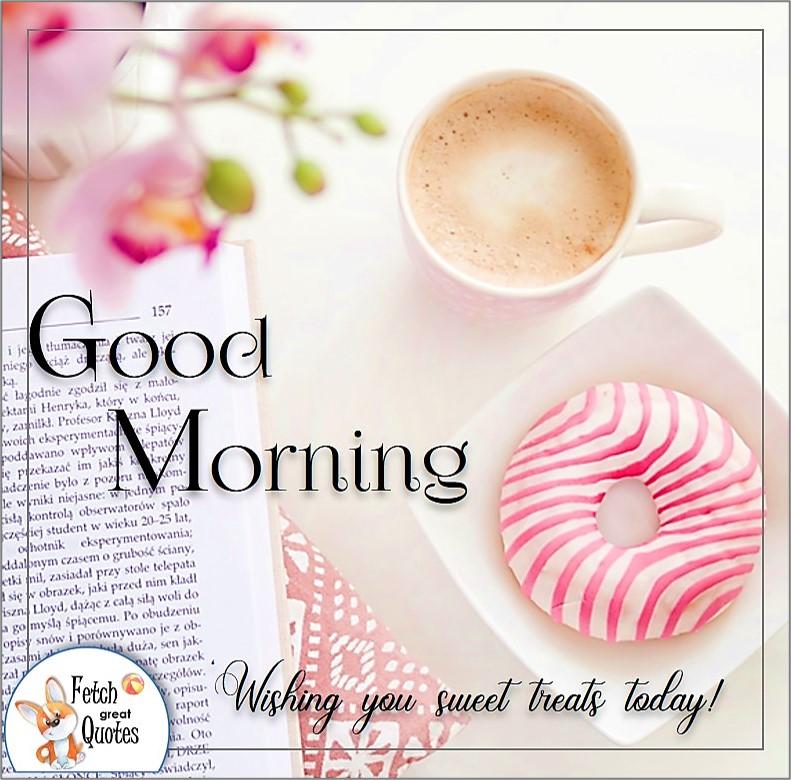 modern minimalist pink and white good morning photo, coffee and donut good morning photo, pink strip donut, wishing you sweet treats today photo