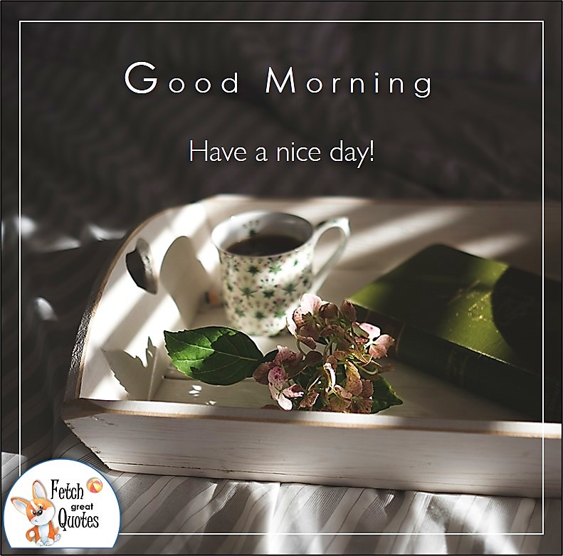 Modern Morning photo, Good morning breakfast tray, Have a nice day photo