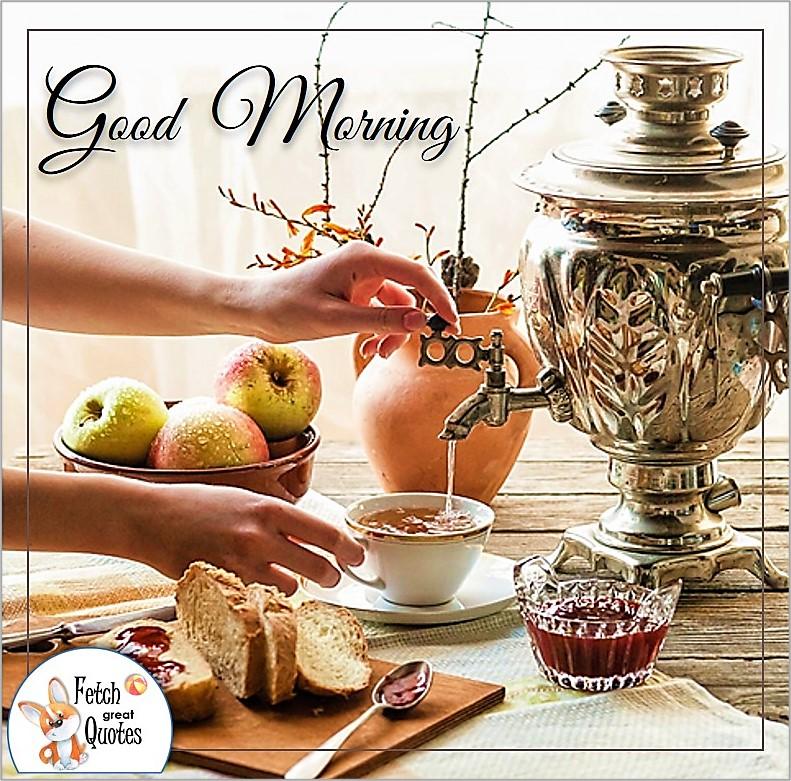 Good morning tea, morning coffee, good morning photo, silver coffee pot