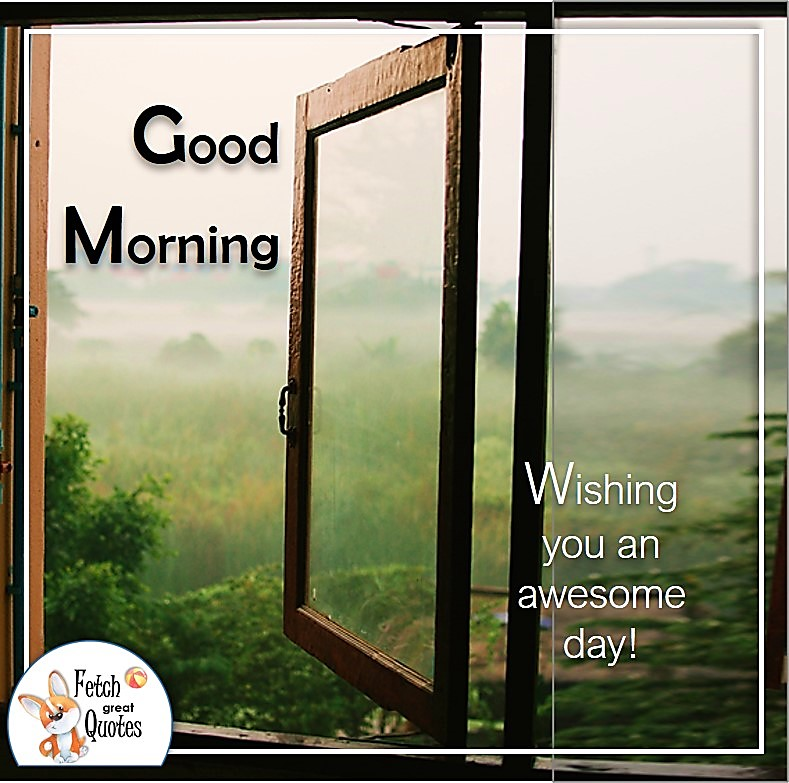 Window to the world photo, Open window good morning photo, Wishing you an awesome day photo quote