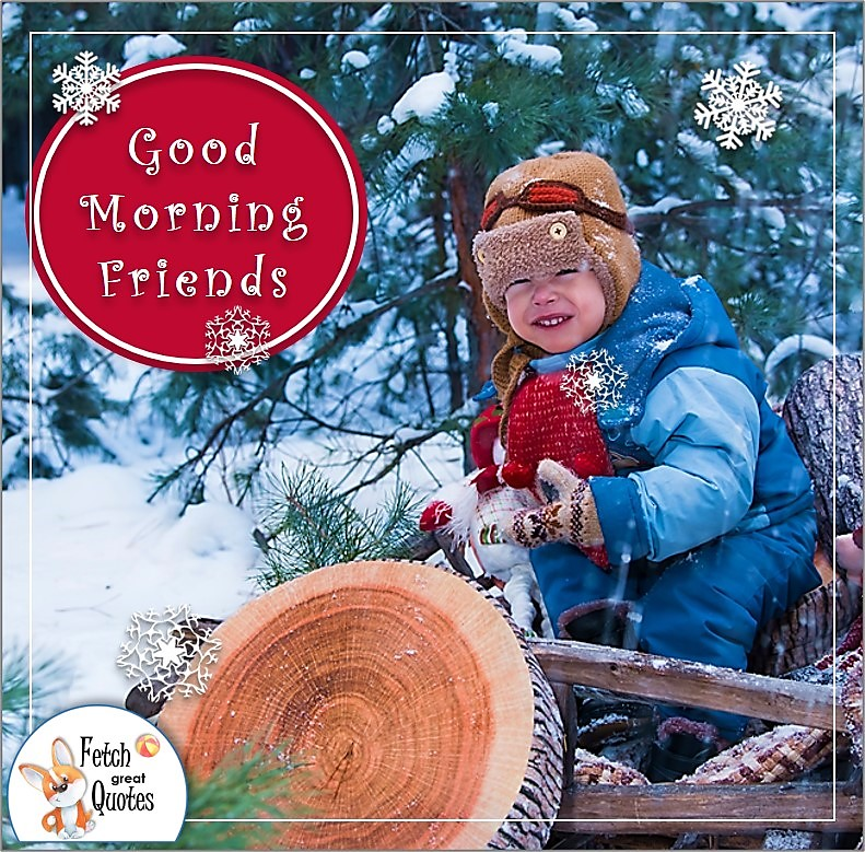 snow day good morning photo, little boy in the snow good morning phots,