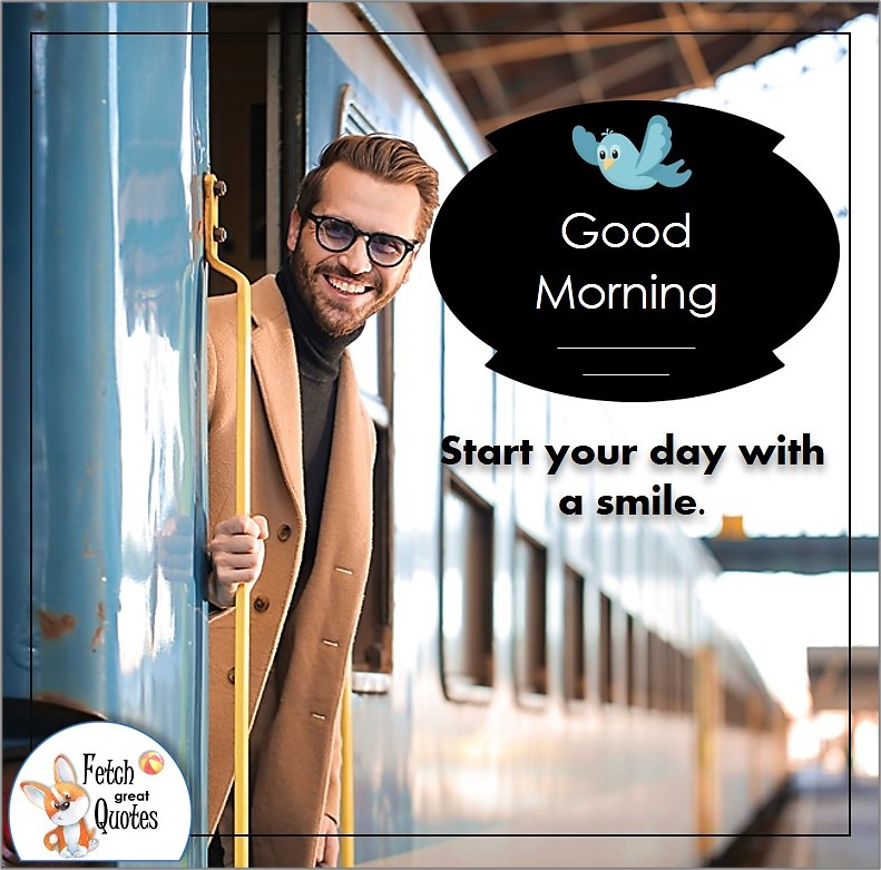 Good morning man, good morning guy photo, Man on a train, Start your day with a smile.