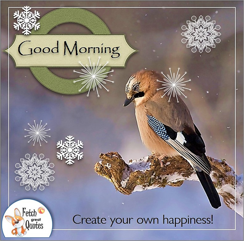 Winter Good morning photo, cute bird, Create you own happiness quote, snowflakes