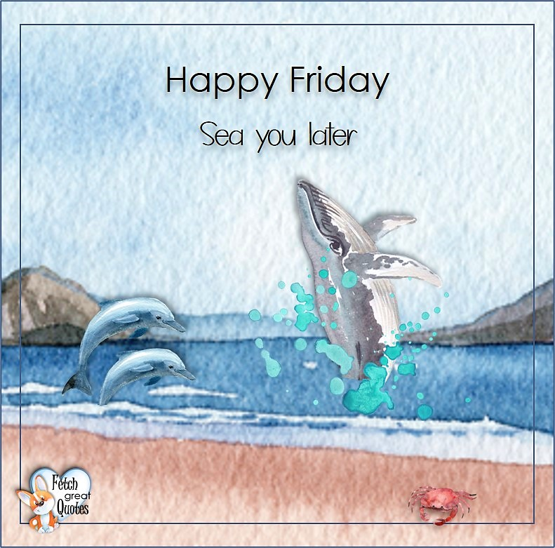 Whale, dolphins, Sea you later, Beach Happy Friday photos, Seashore Happy Friday photos, Summer Happy Friday photos, beautiful Happy Friday photos, Beach theme Happy Friday photos, Sunny summer beaches, beach inspiration, Friday morning, beach theme quotes, happy Friday, beautiful watercolor beach photos