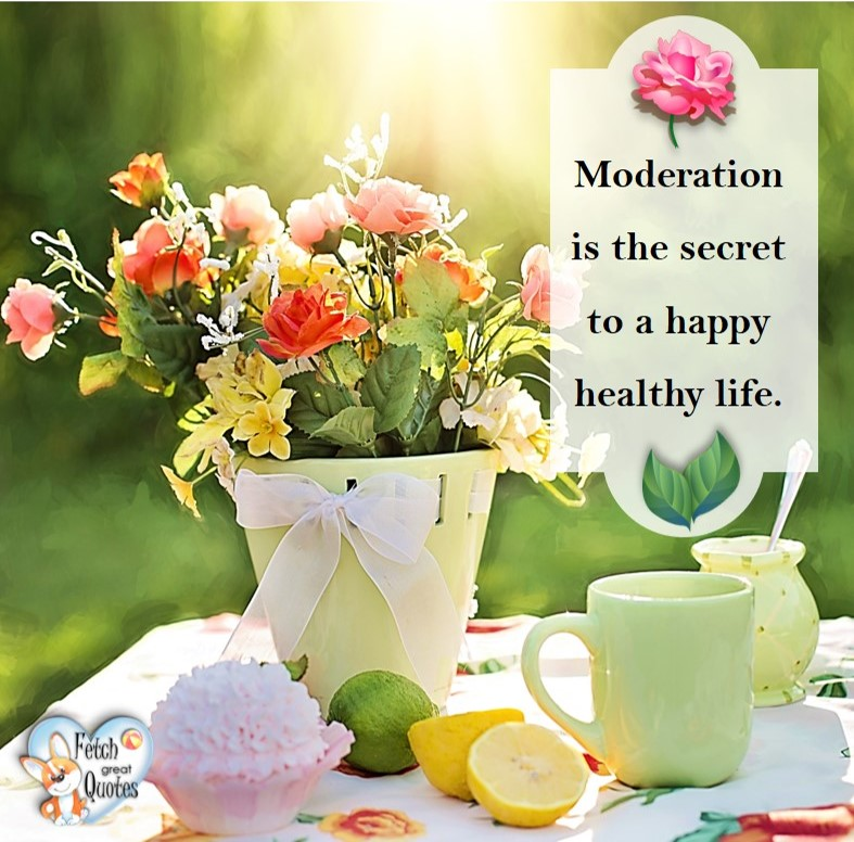 Moderation is the secret to a happy health life. , healthy lifestyle photos, healthy mindset, healthy living quotes, healthy eating, healthy choices, face life's challenges, Life Coach, Diet coach, physical trainer, Fitness Coach, wellness business, healthy living photos