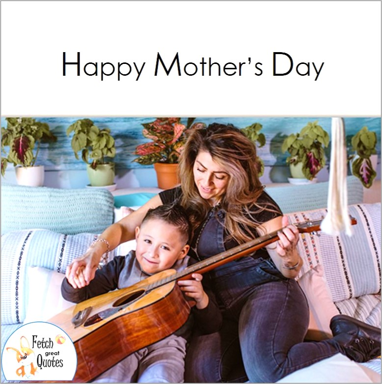 Happy Mother's Day photo, Mom and little boy play guitar