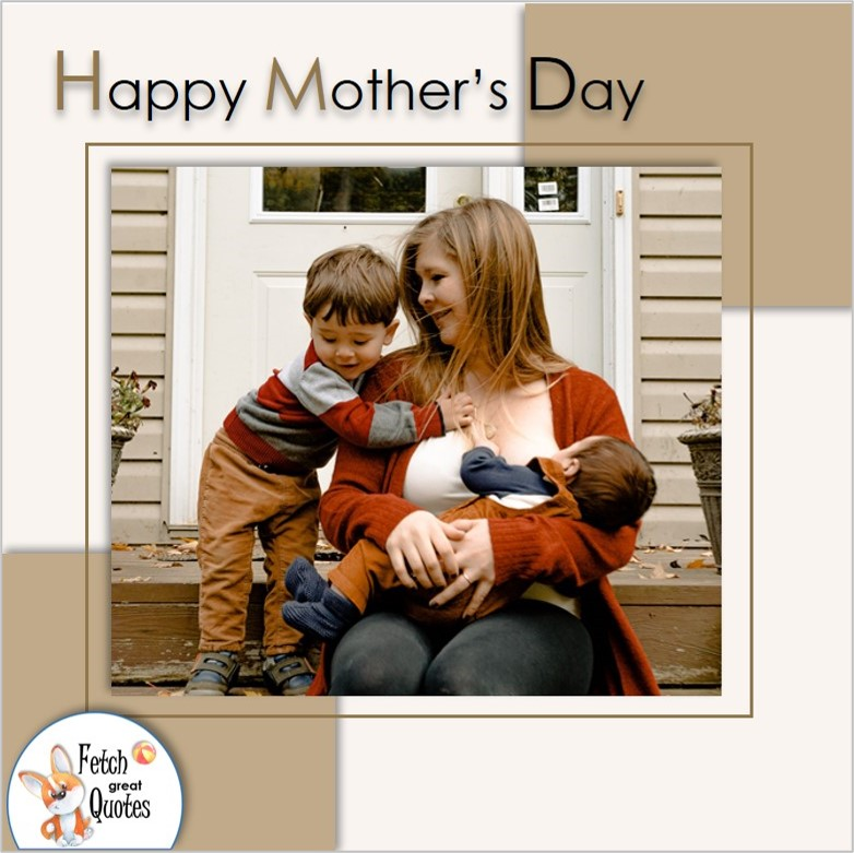 Mom an children, happy Mother's day mom and children