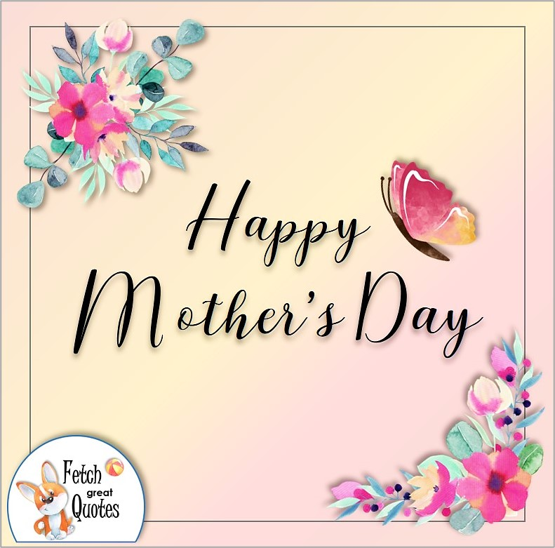 Illustrated Happy Mother's day photo, flowers and butterfly