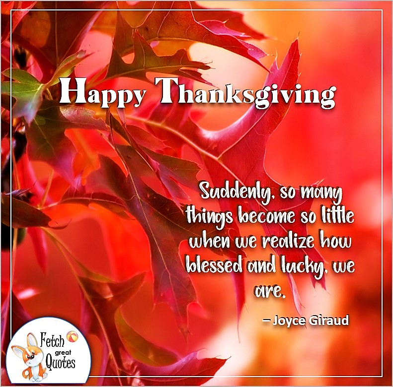 Suddenly, so many things become so little when we realize how blessed and luck we are. - Joyce Giraud, talking turkey, celebrate giving thanks, , gratitude, abundance in our lives, happy Thanksgiving, give thanks, beautiful Happy Thanksgiving photos, Happy Thanksgiving, heartwarming Thanksgiving photos