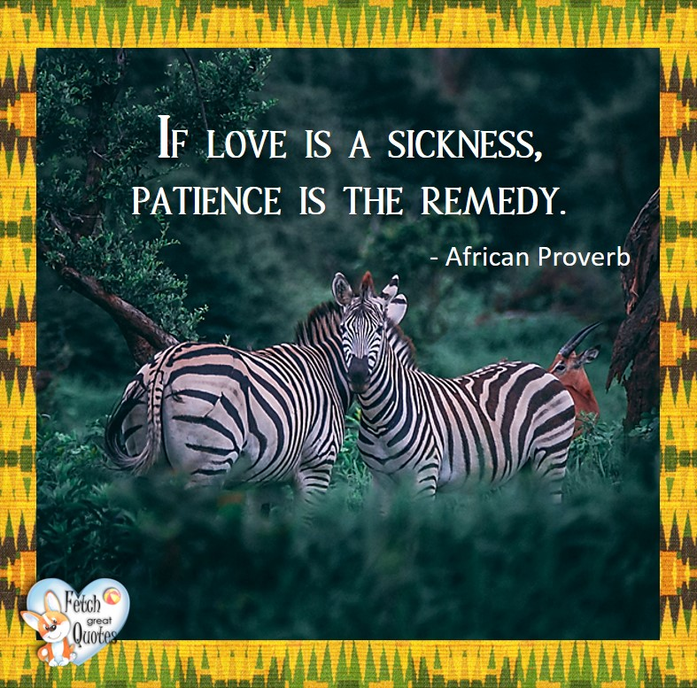 If love is a sickness, patience is the remedy. - African Proverb, African Proverb, richly illustrated African Proverbs, beautiful African proverb, ancient wisdom, inspirational photo quote, African proverb photo quote, motivational quote, motivational photo quote