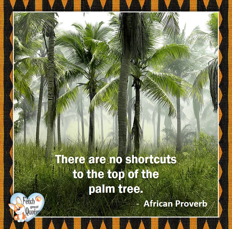 African Proverb, richly illustrated African Proverbs, beautiful African proverb, ancient wisdom, inspirational photo quote, African proverb photo quote, motivational quote, motivational photo quote, There are no shortcuts to the top of the palm tree. - African Proverb