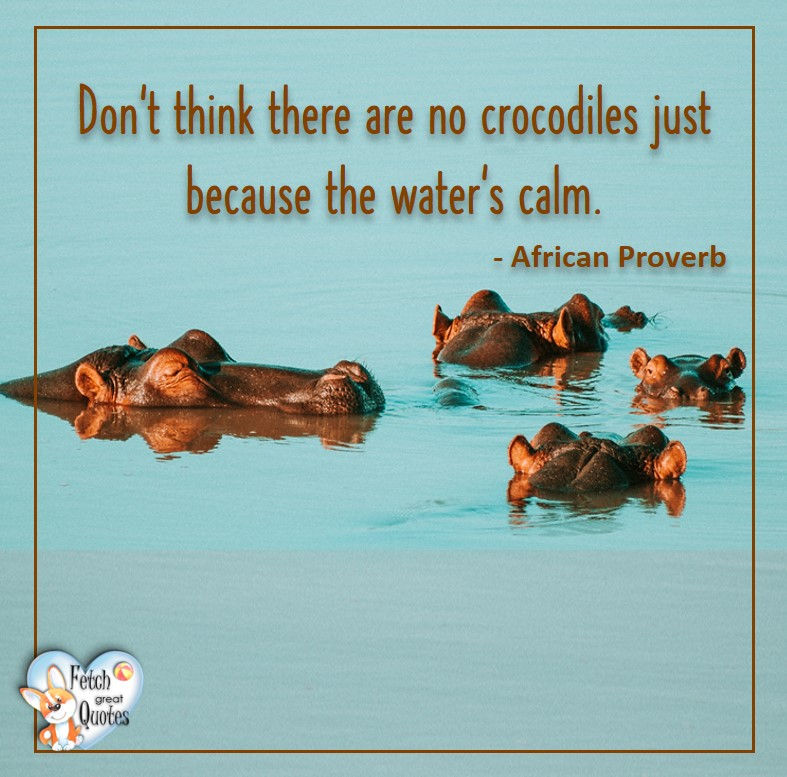 African Proverb, richly illustrated African Proverbs, beautiful African proverb, ancient wisdom, inspirational photo quote, African proverb photo quote, motivational quote, motivational photo quote, Don't think there are no crocodiles just because the water's calm. - African Proverb