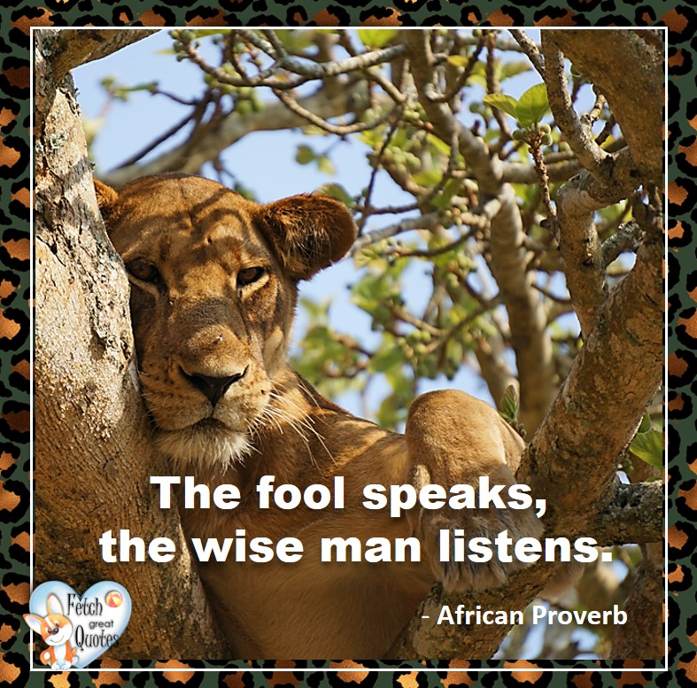 African Proverb, richly illustrated African Proverbs, beautiful African proverb, ancient wisdom, inspirational photo quote, African proverb photo quote, motivational quote, motivational photo quote, The fool speaks, the wise man listens. - African Proverb
