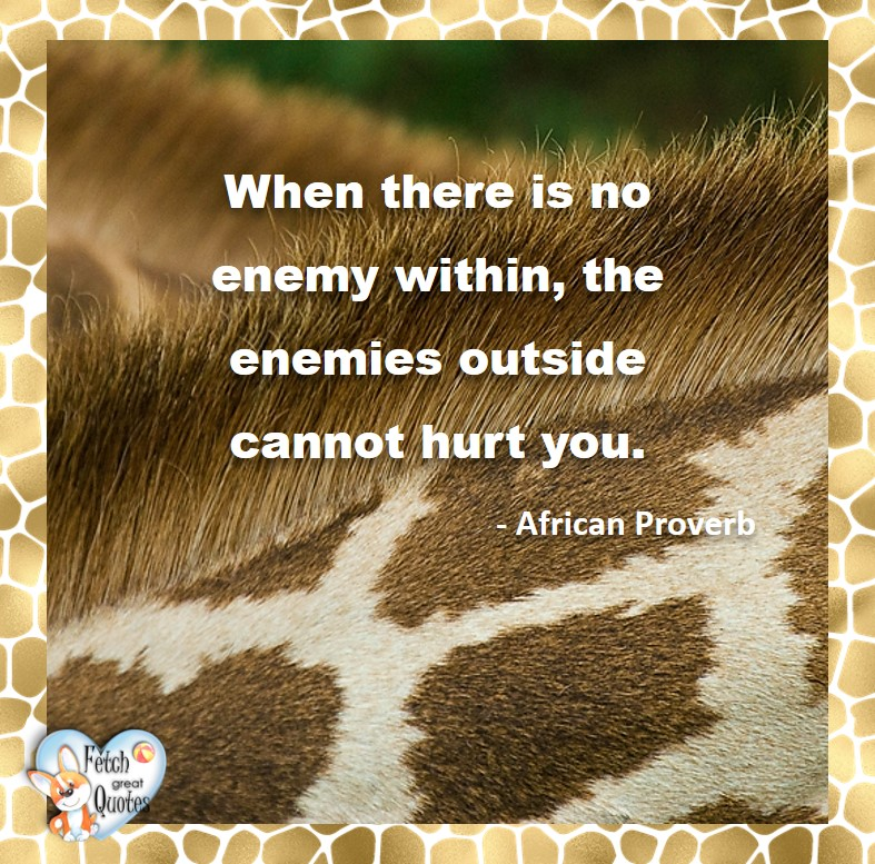 African Proverb, richly illustrated African Proverbs, beautiful African proverb, ancient wisdom, inspirational photo quote, African proverb photo quote, motivational quote, motivational photo quote, When there is no enemy within, the enemies outside cannot hurt you. - African Proverb