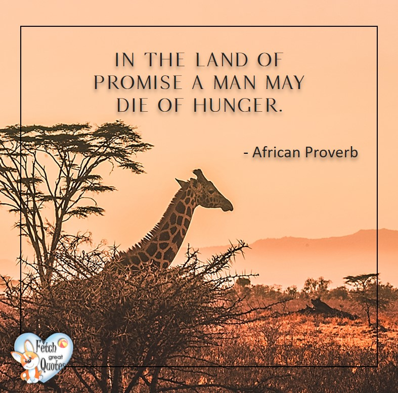 African Proverb, richly illustrated African Proverbs, beautiful African proverb, ancient wisdom, inspirational photo quote, African proverb photo quote, motivational quote, motivational photo quote, In the land of promise a man may die of hunger. - African Proverb