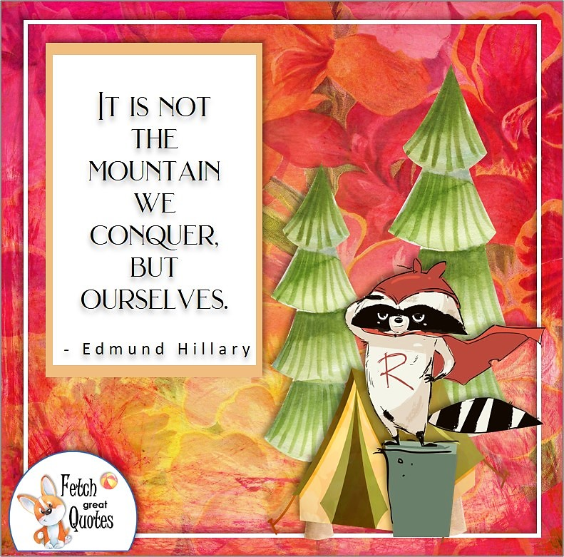 red pattern, cute racoon super hero, self-confidence quote, It is not the mountain we conquer but ourselves. , - Edmund Hillary quote