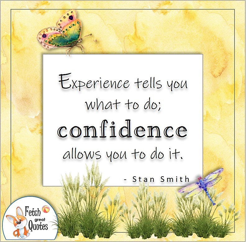 self-confidence quote, Experience tells you what to do; confidence allows you to do it. , - Stan Smith quote