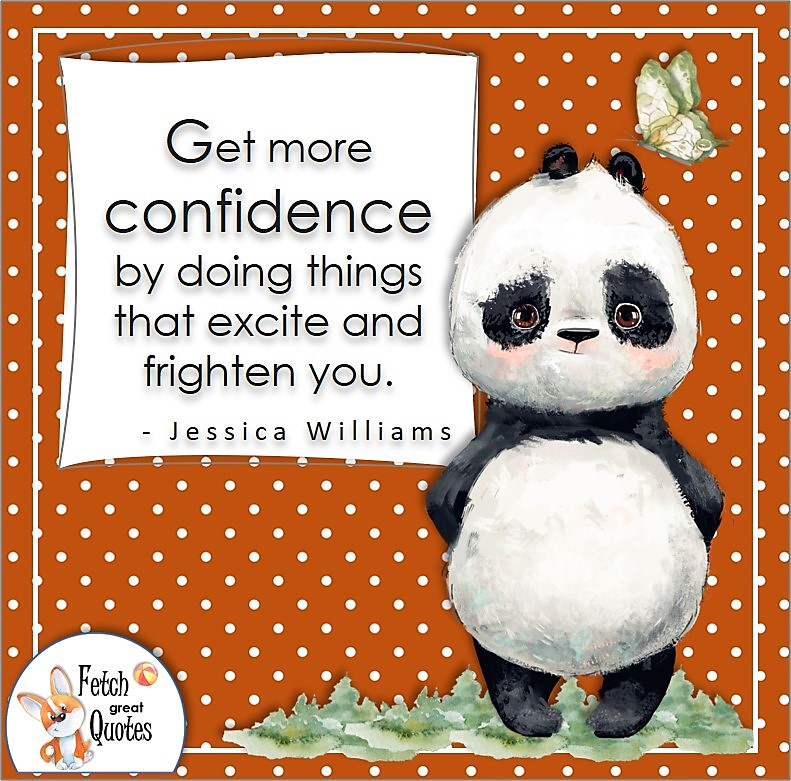cute panda bear, self-confidence quote, Get more confidence by doing things that excite and frighten you. , - Jessica Williams quote