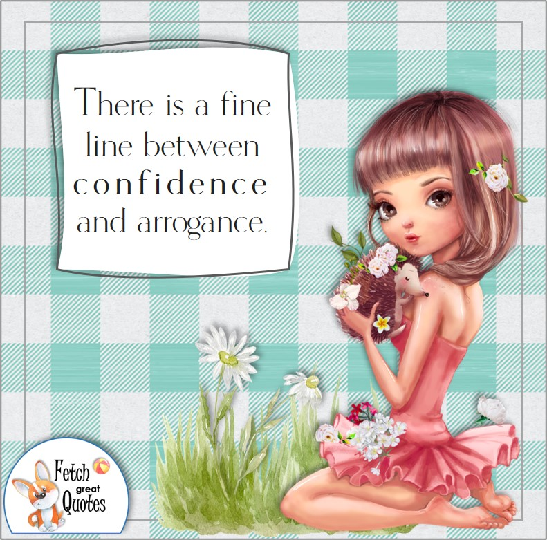 cute girl, mint green buffalo plaid pattern, self-confidence quote, There is a fine line between confidence and arrogance. photo quote