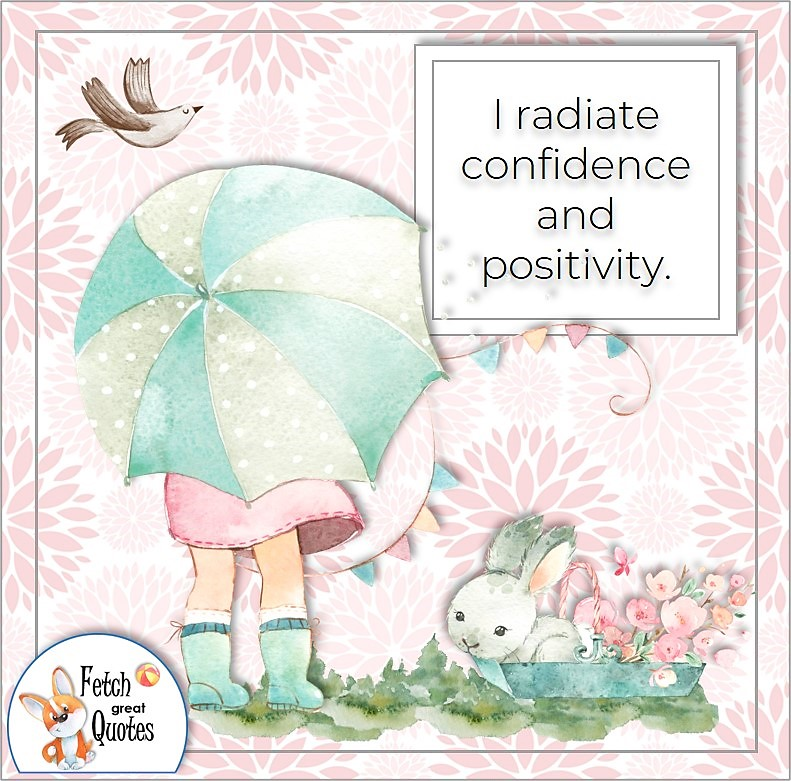 illustrated quotes, pink pattern, self-confidence affirmations, I radiate confidence and positivity.