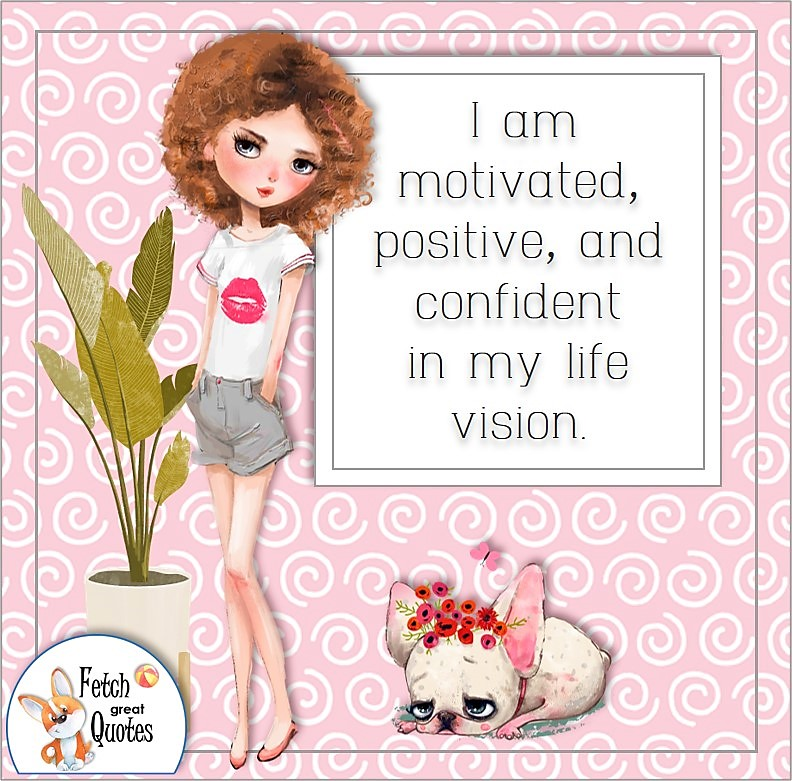 red hair girl, cute girl, pink pattern, self-confidence affirmation, I am motivated, positive, and confident in my life vision.