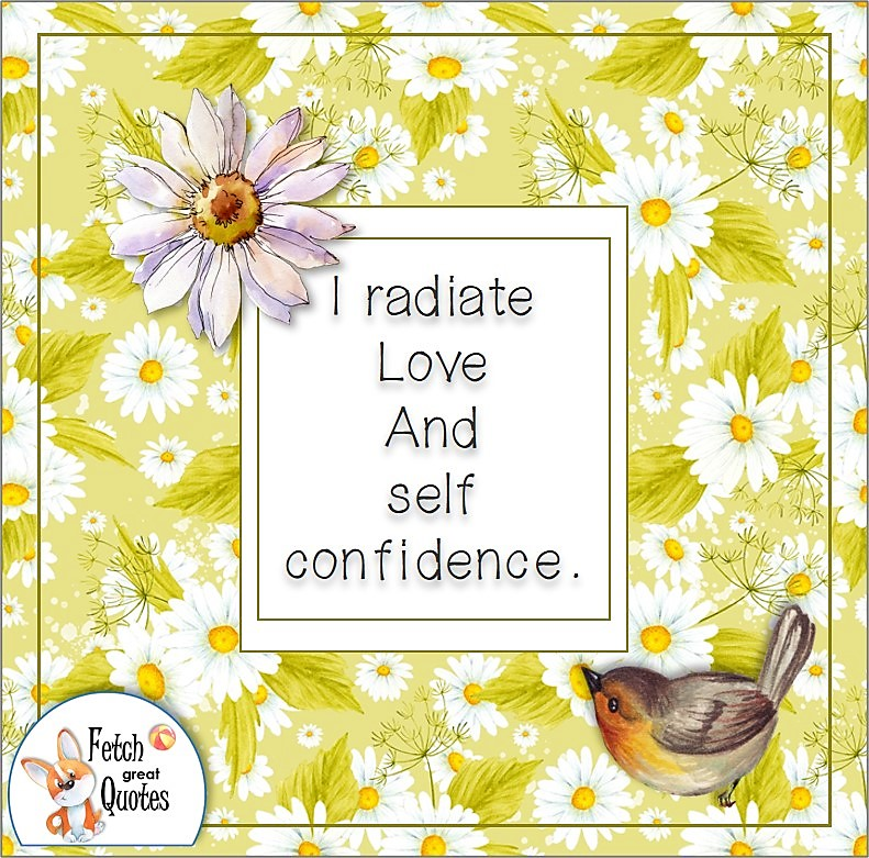 pretty daisy pattern, cute robin, confidence affirmation, business quotes, self-confidence affirmation, I radiate love and self confidence.