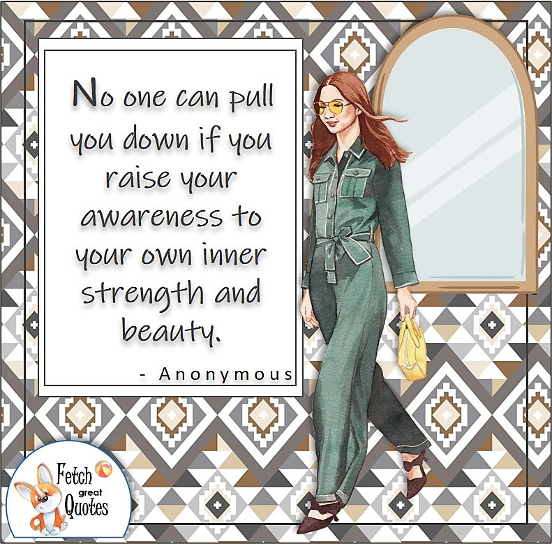 """fashionable woman, green jumpsuit, redhead girl, confident woman, confident girl, self-confidence quote, """"No one can pull you down if you raise you awareness to your own inner strength and beauty. """" , - Anonymous"""