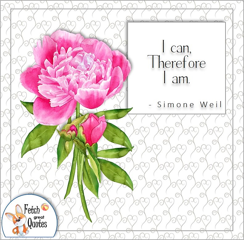 """pink peony, self-confidence quotes, """"I can therefore I am,"""" , - Simone Weil quote"""