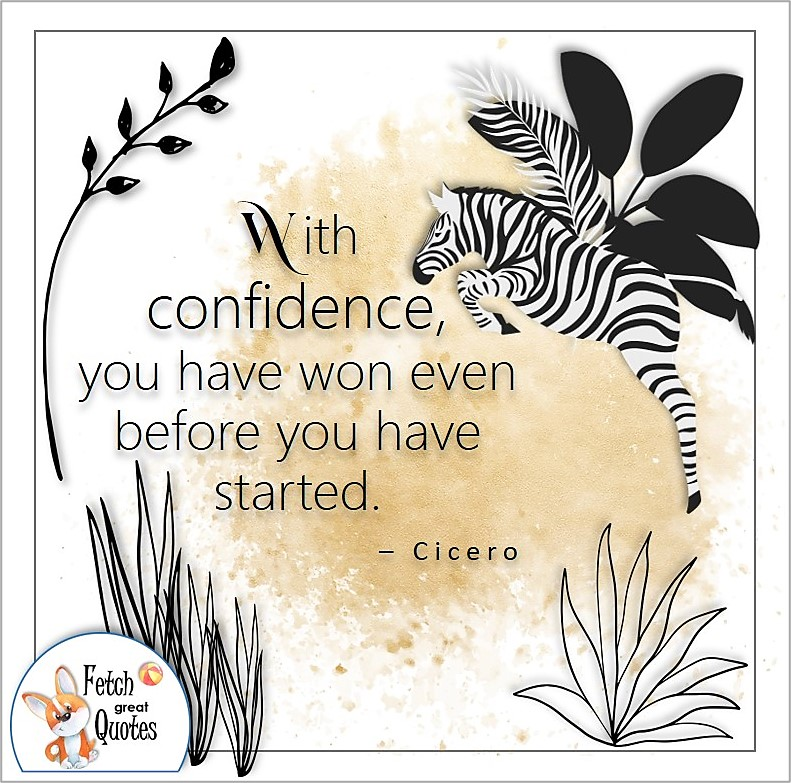zebra, illustrated self-confidence quote, With confidence, you have won even before you have started. , - Cicero quote