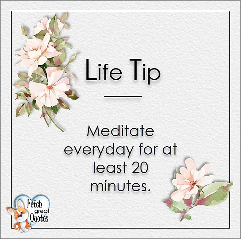 Meditate everyday for at least 20 minutes., Life Tips, Life Tip quotes, Life Tip photos, Life Tip photo quotes, inspirational quotes, inspirational photo quotes, motivational quotes, motivational photo quotes, quality of life photos, quality of life quotes, encouraging words, words of encouragement