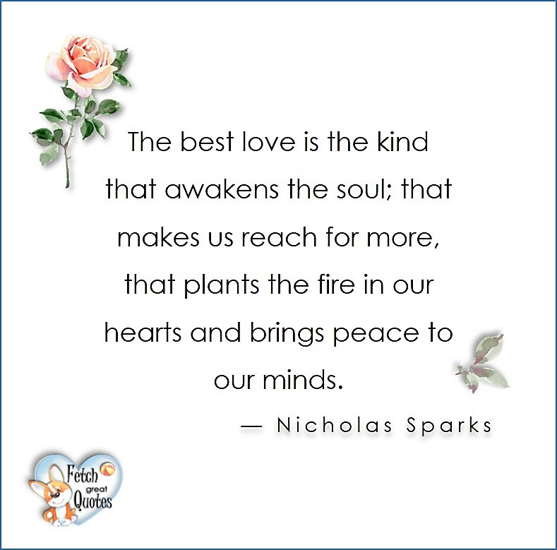 Love quotes, beautiful love quotes, love photos, love pics, Inspirational quotes, inspirational photos, inspirational pics, love is in the air, love is the way, daily dose of love, friendship, friendship quotes, quotes about friendship, The best love is the kind that awakens the soul; that makes us reach for more, that plants the fire in our hearts and brings peace to our minds. - Nicholas Sparks