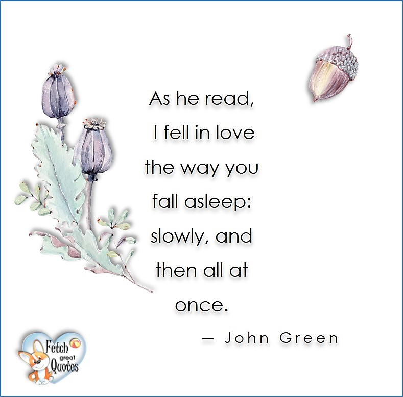 Love quotes, beautiful love quotes, love photos, love pics, Inspirational quotes, inspirational photos, inspirational pics, love is in the air, love is the way, daily dose of love, friendship, friendship quotes, quotes about friendship, As he read, I fell in love the way you fall asleep: slowly, and then all at once. - John Green
