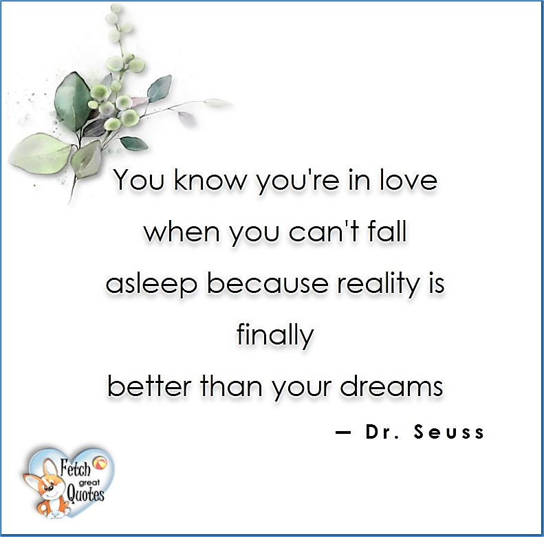 Love quotes, beautiful love quotes, love photos, love pics, Inspirational quotes, inspirational photos, inspirational pics, love is in the air, love is the way, daily dose of love, friendship, friendship quotes, quotes about friendship, You know you're in love when yu can't fall asleep because reality is finally better than you dreams. - Dr. Seuss