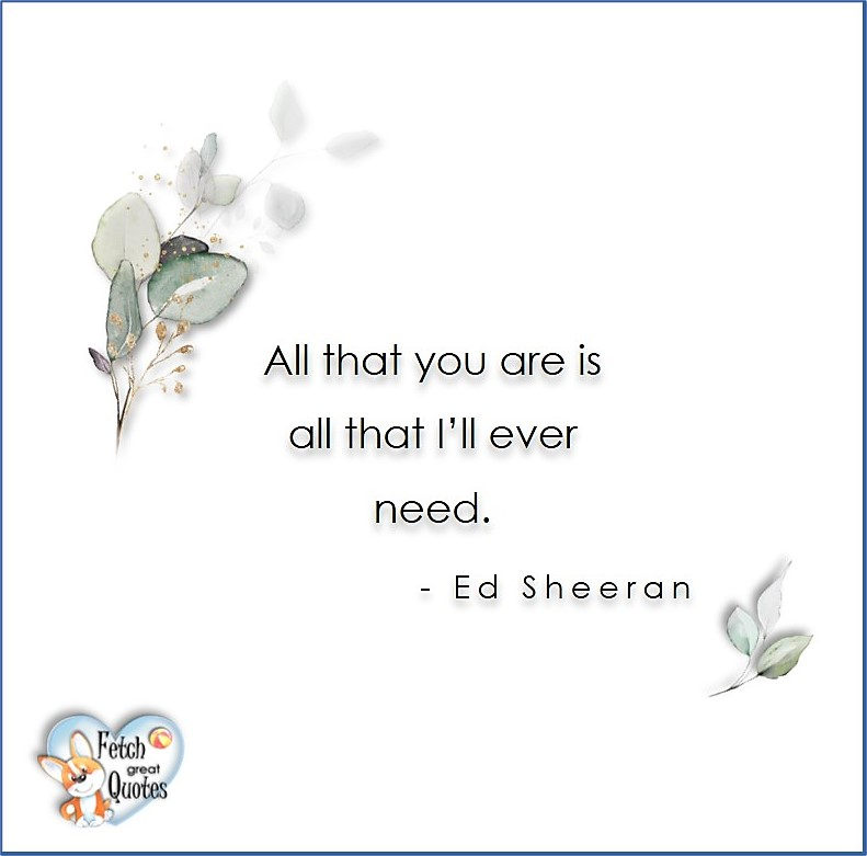 Love quotes, beautiful love quotes, love photos, love pics, Inspirational quotes, inspirational photos, inspirational pics, love is in the air, love is the way, daily dose of love, friendship, friendship quotes, quotes about friendship, All that you are is all that I'll ever need. - Ed Sheeran