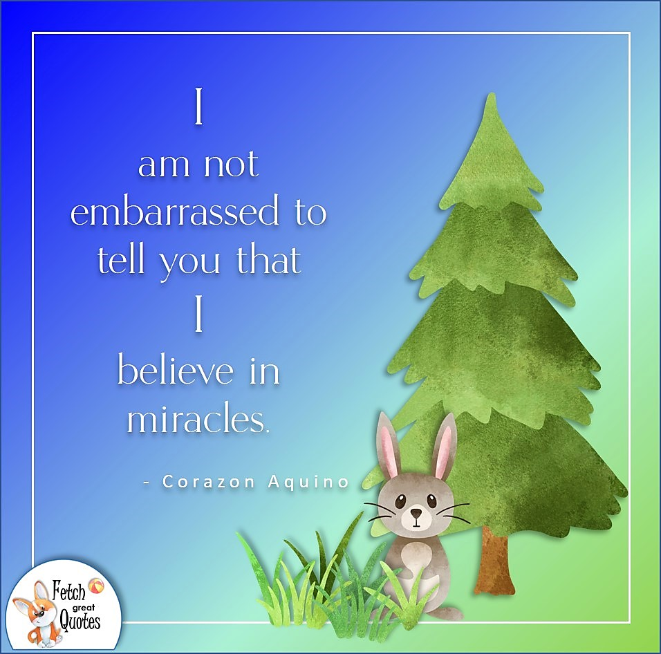 I am not embarrassed to tell you that I believe in miracles. , Corazon Aquino quote, Positive mindset, positive quotes, positive vibes, uplifting quotes, positive life, sage advice, positive thinking, positive quotes about life, words of encouragement, sage advice