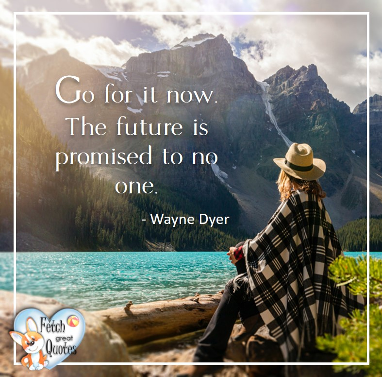 Wayne Dyer Quotes, Self-Development, Spiritual Development, Inspirational Quotes, Inspirational photo, Motivational Quotes, Motivational Photos, Go for it now. The future is promised to no one. - Wayne Dyer