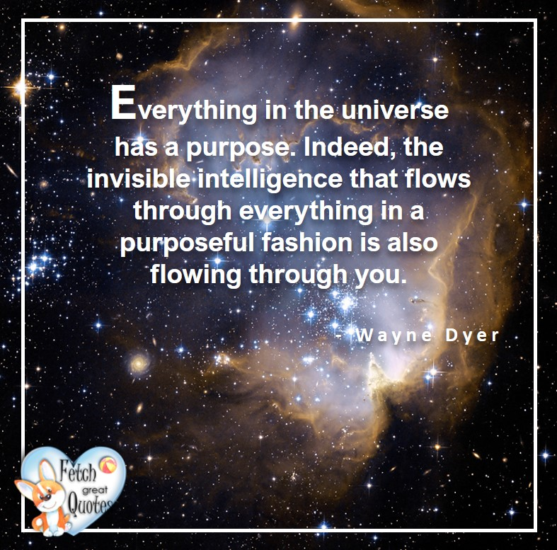 Wayne Dyer Quotes, Self-Development, Spiritual Development, Inspirational Quotes, Inspirational photo, Motivational Quotes, Motivational Photos, Everything in the universe has a purpose. Indeed the invisible intelligence that flows through everything is a puposful fashion is also flowing through you.- Wayne Dyer