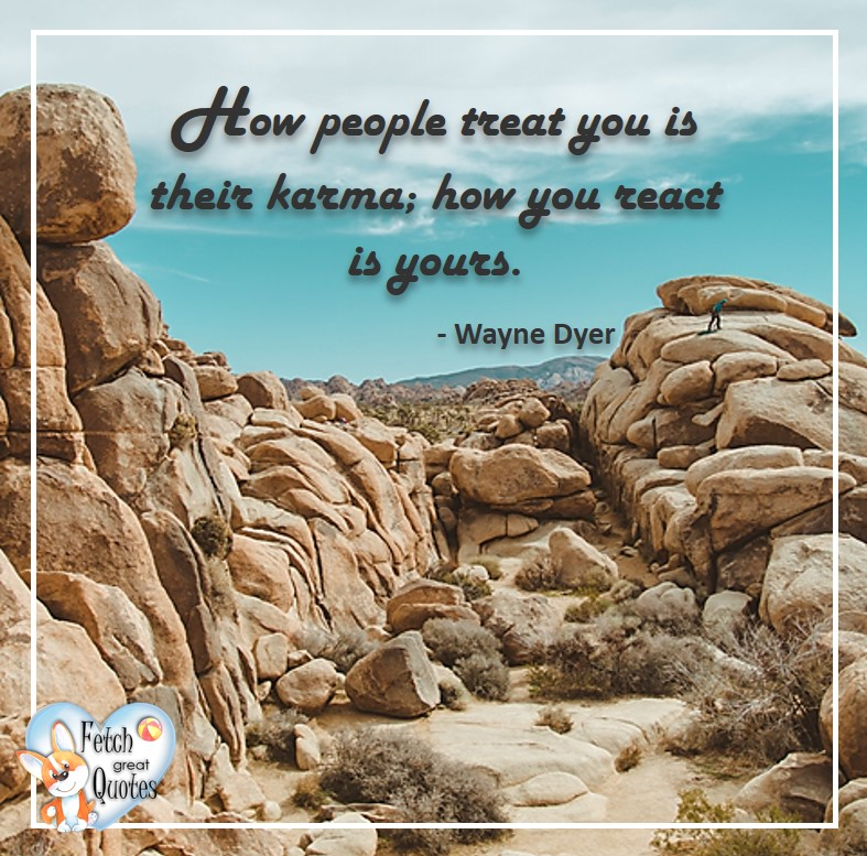 Wayne Dyer Quotes, Self-Development, Spiritual Development, Inspirational Quotes, Inspirational photo, Motivational Quotes, Motivational Photos, How people treat you is their karma; how you react is yours. - Wayne Dyer
