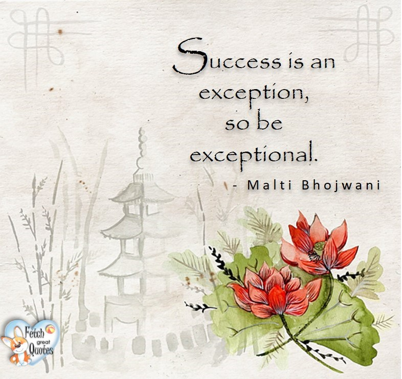 Success is an exception, so be exceptional. - Malti Bhojwani, Leadership quotes, illustrated leadership quote, leadership photo quote