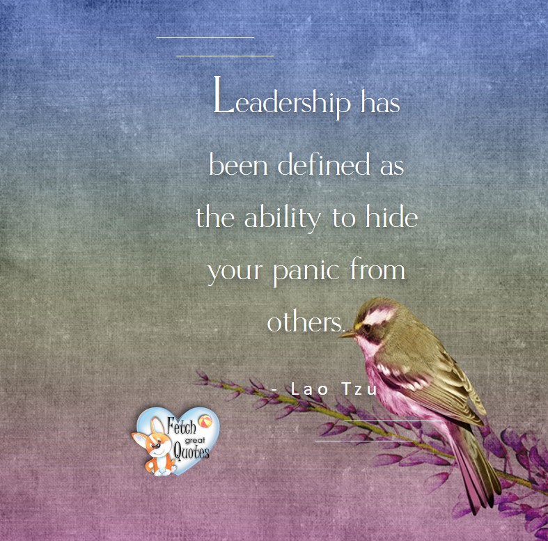Leadership has been defined as the ability to hide your panic from others. - Lao Tzu, Leadership quotes, illustrated leadership quote, leadership photo quote