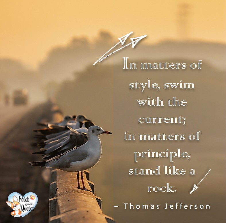 In matters of style, swim with the current; in matters of principle, stand like a rock. - Thomas Jefferson, Leadership quotes, illustrated leadership quote, leadership photo quote