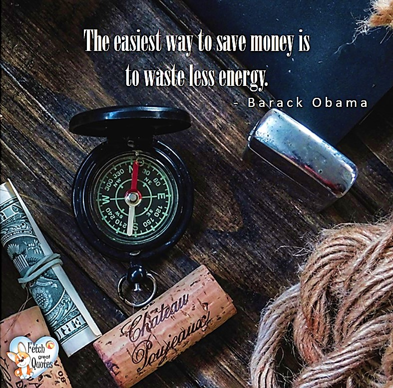 The easiest way to save money is to waste less energy. - Barack Obama, Money quotes, Favorite Money and finance quotes, wise quotes about money, financial wisdom, motivational money quotes
