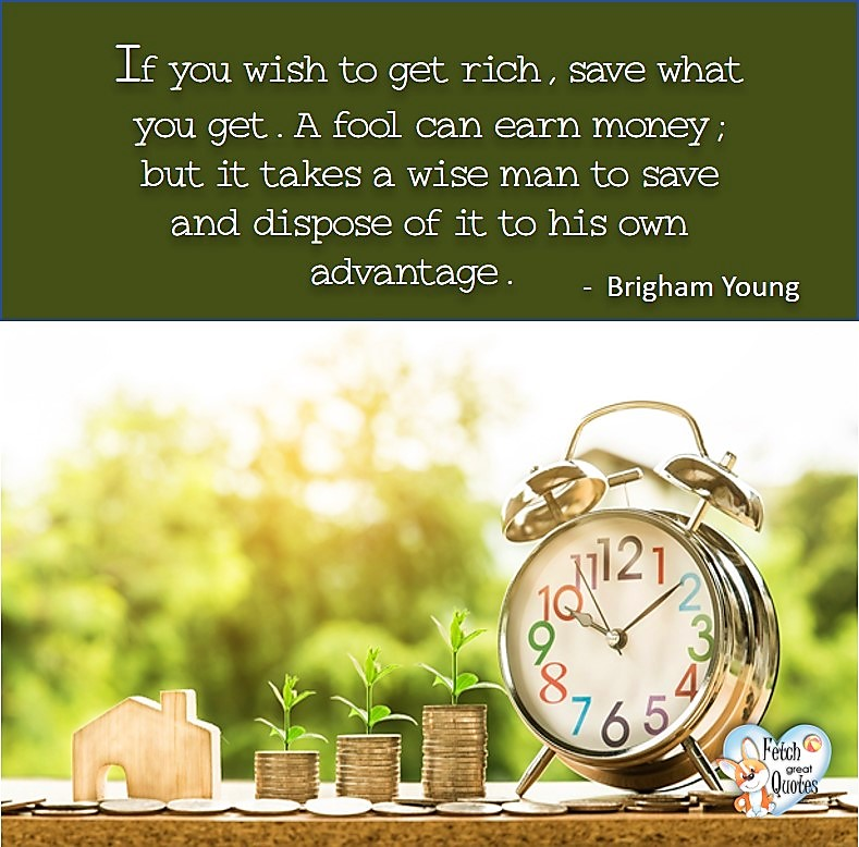 If you wish to get rich, save what you get. A fool can earn money; but it takes a wise man to save and dispose of it to his own advantage. - Brigham Young, Money quotes, Favorite Money and finance quotes, wise quotes about money, financial wisdom, motivational money quotes