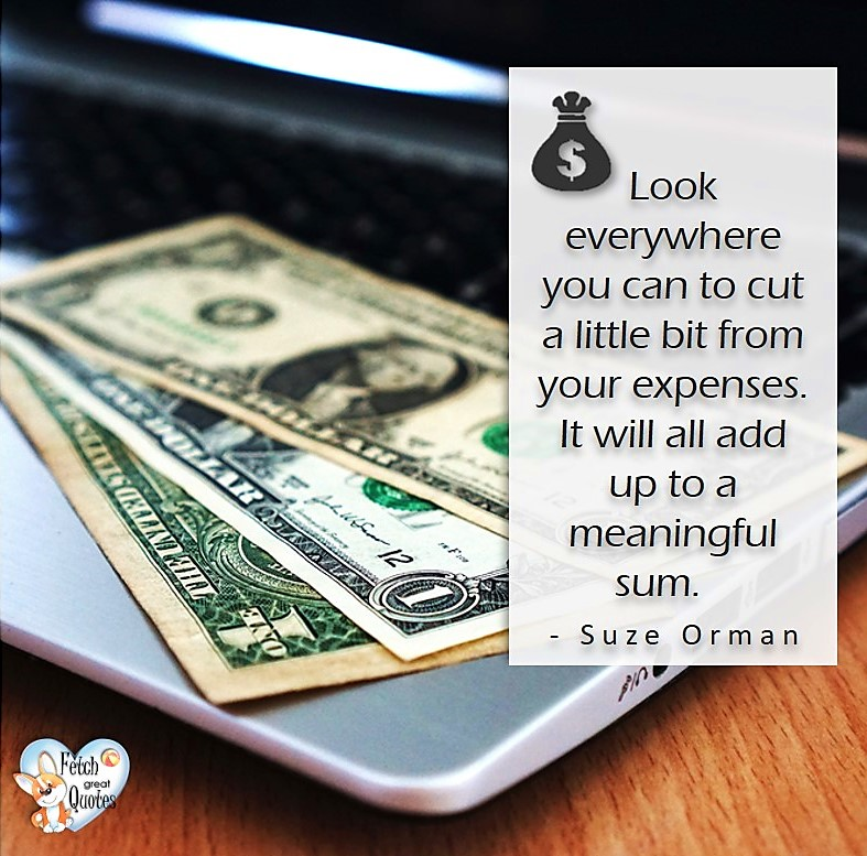 Look everywhere you can cut a little bit from your expenses, it will add up to a meaningful sum. - Suze Orman, Money quotes, Favorite Money and finance quotes, wise quotes about money, financial wisdom, motivational money quotes